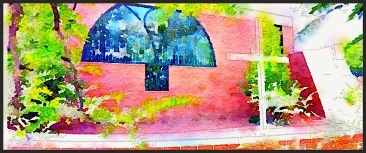 Watercolor of outside of school where the stained glass window is